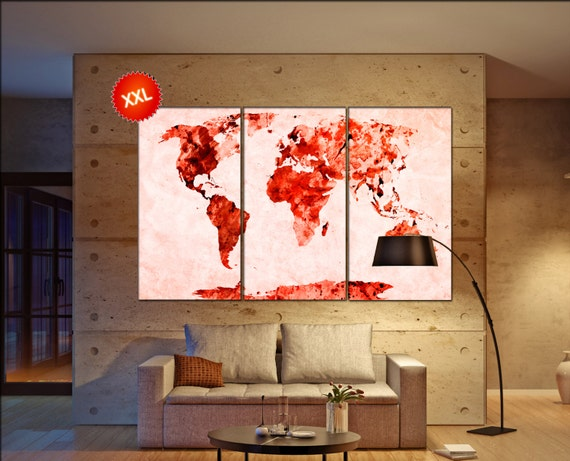 Red rose world map  print on canvas wall art Large Red rose world map print art artwork large world map Print home office decoration