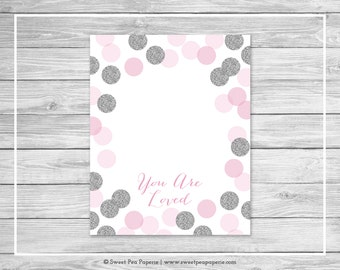Pink and Silver Baby Shower Guest Book - Printable Baby Shower Guest Book - Pink and Glitter Baby Shower - Baby Shower Guest Book - SP123