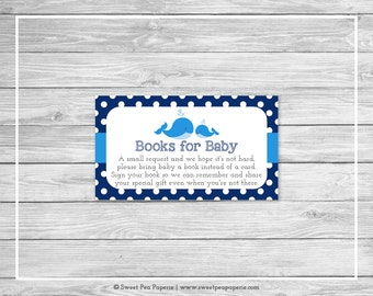 Whale Baby Shower Book Instead of Card Insert - Printable Baby Shower Books for Baby - Blue Whale Baby Shower - Books for Baby - SP127