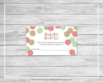 Mint and Coral Gender Reveal Diaper Raffle Insert - Printable Gender Reveal Diaper Raffle Cards - Coral Mint Gold Gender Reveal - SP132