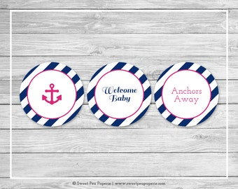 Nautical Baby Shower Cupcake Toppers - Printable Baby Shower Cupcake Toppers - Navy Pink Baby Shower - Nautical Cupcake Toppers - SP119