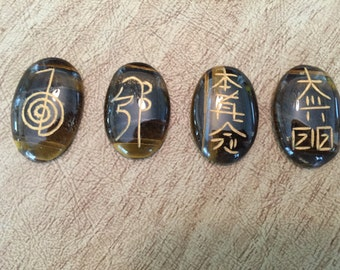 Tigers Eye Engraved Usui Reiki Set - Root Chakra - Energy Healing
