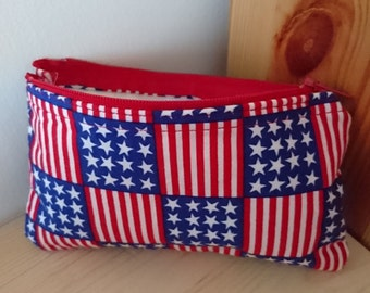 Stars and stripe's coin purse Fully Lined  Interfacing  Free Worldwide Shipping