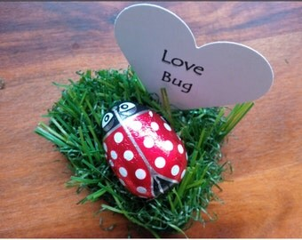Personalised Chocolate Ladybird LoveBug Heart Wedding Party Favours