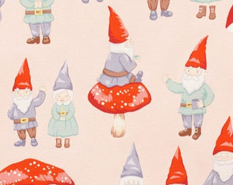 Alexander Henry Fabric, Gnome Sweet Gnome, Designer Fabric, Pink, Garden fabric, by the yard, fat quarter, spring quilting fabric