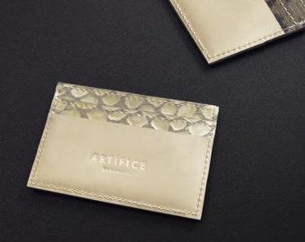 Patent CROCO card holder kidskin