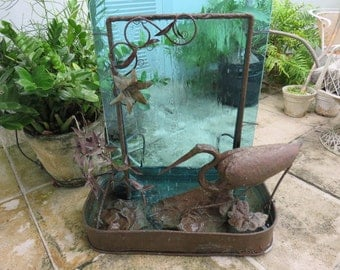 Outdoor water fountain etsy for Mid century modern water feature