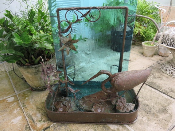 Signed mid century modern copper water fountain with a egret for Mid century modern water feature