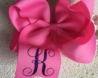 Single letter monogram hairbows-boutique hairbow-monogrammed bow- basic hairbow- everyday hairbow.