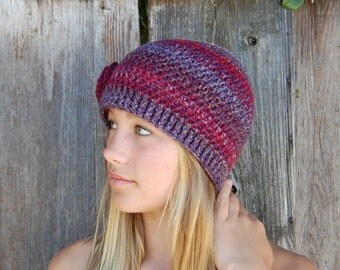 Multicolor crochet cloche with rose