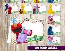 80% OFF SALE 24  Sesame Street Food Tent Cards instant download, Printable Sesame Street Labels, Sesame Street food party