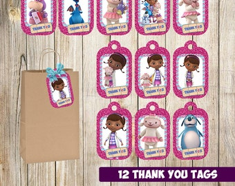 12 Doc McStuffins Thank you Tags instant download, Printable Doc McStuffins Thank you tags , Doc McStuffins Favor Label Tag