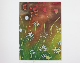 Daisies and poppies batik on cotton