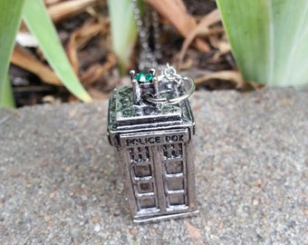 Silver Dr Who Necklace Large Tardis Pendant Police Box