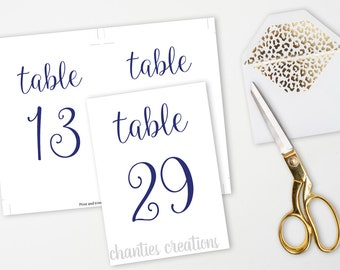 Navy Wedding Table Number 4x6 and 5x7 Signs. Printable Wedding Table Signs. Table Numbers. Wedding Tabletop Sign. Printable Table Numbers.