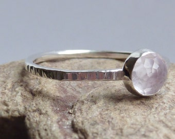 Sterling Silver and Pink Amethyst Ring