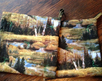 """Trees Woods Evergreen Stream POTHOLDERs 8"""" square.  Felted wool inside!"""