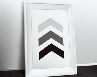 Grey And Black Wall Art, Chevron Wall Art, Grey Chevrons, Gray Chevrons, Black And White Wall Art, Black And Grey Print, Black Chevron Print