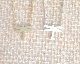 Dragonfly Necklace small, gold or silver, short dainty delicate dragonfly necklace