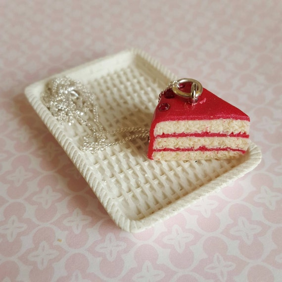 Red cake slice necklace polymer clay food food by chapelviewcrafts
