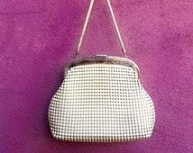1970s OROTON Vintage Beaded White Mesh Hand Bag With Purple Interior & Snake Handle
