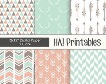 Printable Digital Paper: Scrapbooking Paper, Scrapbook, Arrows, Pattern, Triangles, Chevron, Deer Antlers, Mint, Pink, Tribal