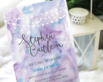 Watercolor wedding invitation set, purple blue watercolour, DIY, Printable, digital, invite, Fairy Lights String Lights
