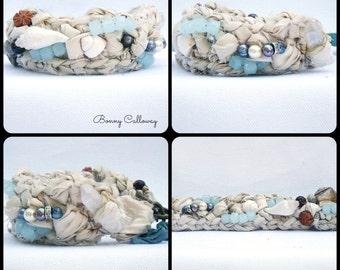 Silk Seaweed Bracelet Ivory & Robin's Egg Blue