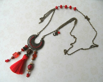 Ethnic necklace, Asian necklace, Long necklace, red necklace, pompom necklace, tassel necklace
