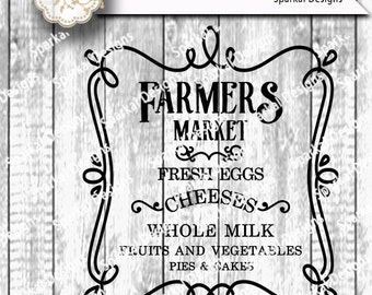 Farmers Market Sign Digital Stencil, Quotes Cutting design, Wood Sign Stencil, SVG Cut File Cricut design Space, Silhouette Studio