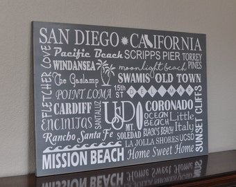 "Customizable San Diego California Subway Art Wooden Sign, 16""x24"""