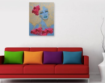 Natural hair paintings on canvas