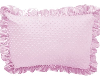 Baby Pink Minky Dot Ruffled Pillow Sham Pillow Cover Pillowcase Pillow Case with Pink Satin Trim, Soft Minky Pillow Sham Cover Standard Size