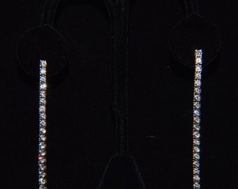 """Bridal or """"night out on the town"""" cubic zirconia white diamond articulating, long and slender earrings in sterling silver, tennis earrings"""