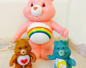 1983 Care Bear Figures, Tenderheart Bear, Wish Bear, Cheer Bear Kenner American Greetings Toys