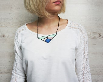 Geometric Glass Neacklace, Tiffany Technique, Glass Pendant, Gift For Her, Modern Style