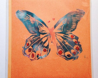 Hand printed Butterfly greeting card - Blank