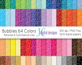 Bubbles 64 Colors Digital Paper Set (JCDD-036), instant download, commercial and personal use