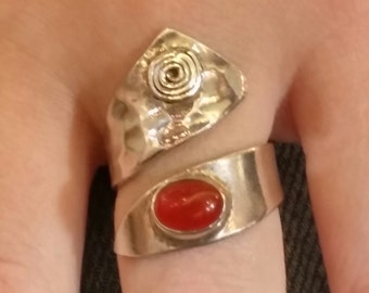 925 Sterling silver  ring with carnelian stone -silver  ring-Sterling silver ring-gemstone ring-925 silver rings-hand made ring-silver rings