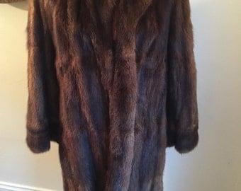 Vintage dark brown beaver fur 3/4 length coat