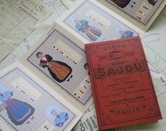 Sajou Red Cross Stitch Album 914- French Regional Costumes