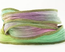 Pastel Prism Handmade Silk Ribbon - Pink, Light Green,yellow, Blue with Brown Edges - 332