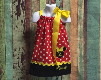 Minnie Mouse Pillowcase Dress-Minnie Mouse Birthday Dress-Girls Minnie Mouse Pillowcase-Minnie Mouse Polka Dot dress-Classic Minnie Mouse