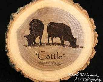 Father's Day Gift for men Cattle Art Angus Art Cattle Coaster Wood Art Farm Art Man Cave Decor Wood Coasters by Nicole Heitzman