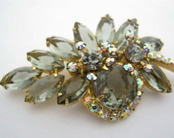 Vintage Smokey Rhinestone Brooch Aurora Borealis Finish Open Back Stones Prong Set Unsigned Beauty 1960s Gift For Her