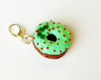 Christmas Tree Donut Charm - Polymer Clay Donut -Miniature Food Jewelry - Polymer Clay Christmas Food - Polymer Clay Doughnut Charm