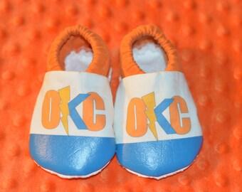 """OKC THUNDER booties, infant booties, toddler booties, """"crawler"""" booties"""