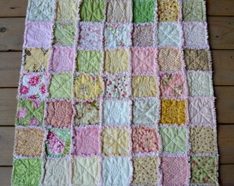 Shabby Chic Baby's Rag Quilt in Pink, Yellow and Green