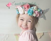 Party Flower Crown, Flower Headband, Wedding Crown, Bridal headwear, Butterfly Floral Crown, Wedding Maternity Crown, Flowergirl hair crown