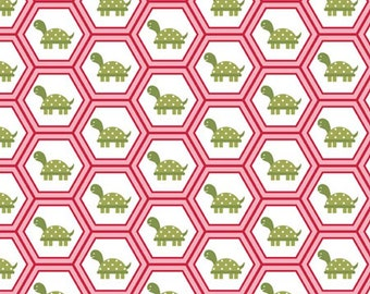 Dandy Turtles Fabric - Pink - Sold by the 1/2 Yard